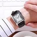 DZG квадратные мужские часы Бизнес водонепроницаемые кварцевые кожаные Наручные часы Мужские часы hodinky erkek kol saati