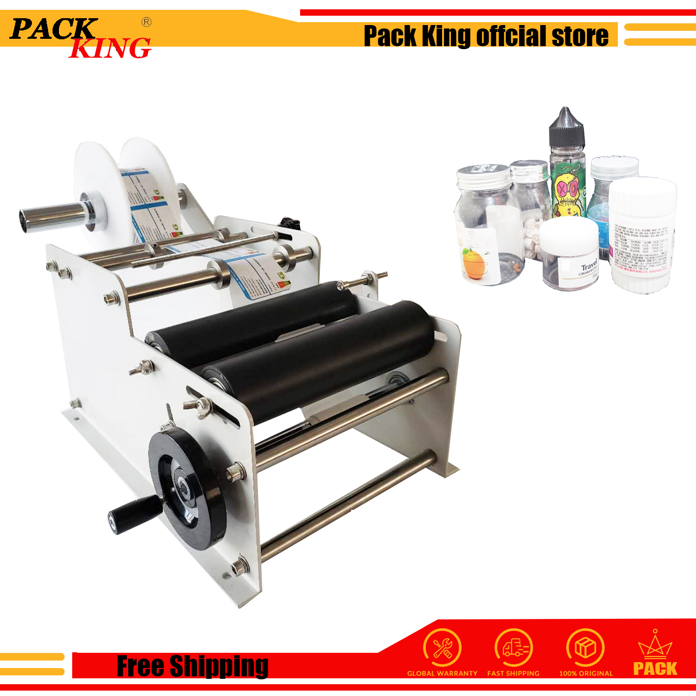 Manual Labeling Machine Labeler Round Bottle Labelling Device Ejuice Plastic Bottles Label Sticker E Liquid