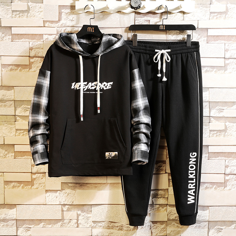 Sporting Track Suit Print Clothes 2019 Autumn Spring Chinese Dragon Men's Sets Hoodie + Pants Sportswear Tracksuit Men Brand
