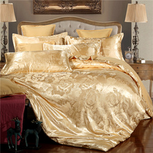 Linens Adult Camel Golden Duvet Cover Set 4pcs/set Jacquard Bedding Set Flower Bed Queen Size Bedclothes Home Textile 2019 New