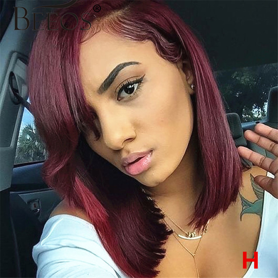 Beeos 180% 13*6 Deep Part Lace Front Human Hair Wig Straight Bob 99J Burgundy Brazilian Remy Hair Bleached Knots 8