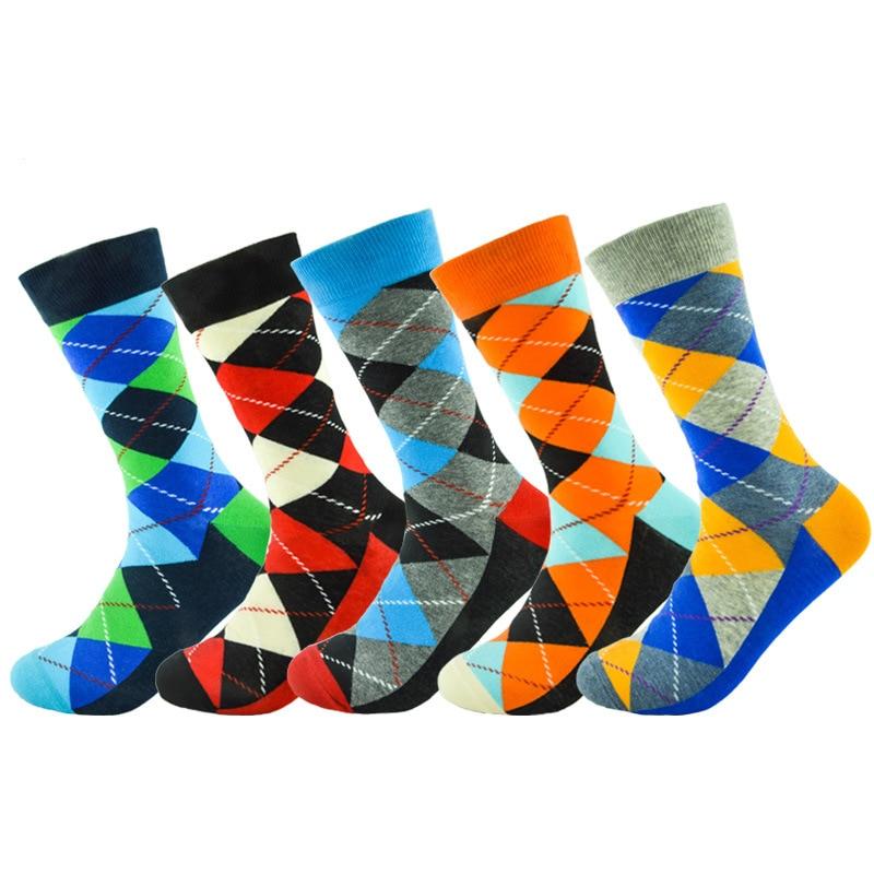 Color Retro Men Cotton Dress Happy Socks Argyle Pattern Wedding Harajuku Funky Novelty Gift Streetwear Hip Hop INS Cool Skate