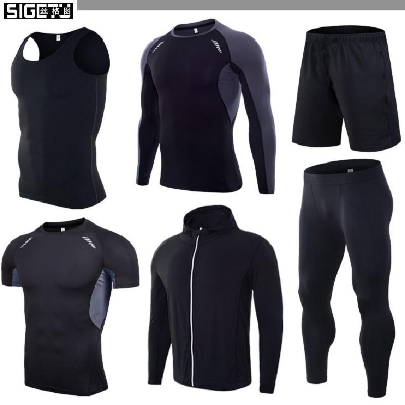 6 teile/satz Männer der Trainingsanzug Gym Sets Fitness Compression Sport Anzug Kleidung Laufen Jogging Sport Tragen Übung Workout Strumpfhosen