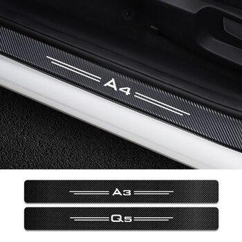 4 sztuk dla Audi A4 B5 B6 B7 B8 B9 A3 8P 8V 8L A5 A6 C6 C5 C7 A1 A7 A8 Q2 Q3 Q5 Q7 RS3 RS4 RS5 RS6 TT progi samochodowe straży naklejki