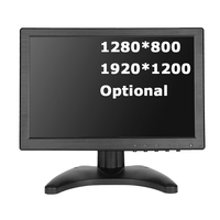 10.1 inch wide screen monitor 1280*800 1920*1200 tft small cheap hdmi vga monitor with speakers