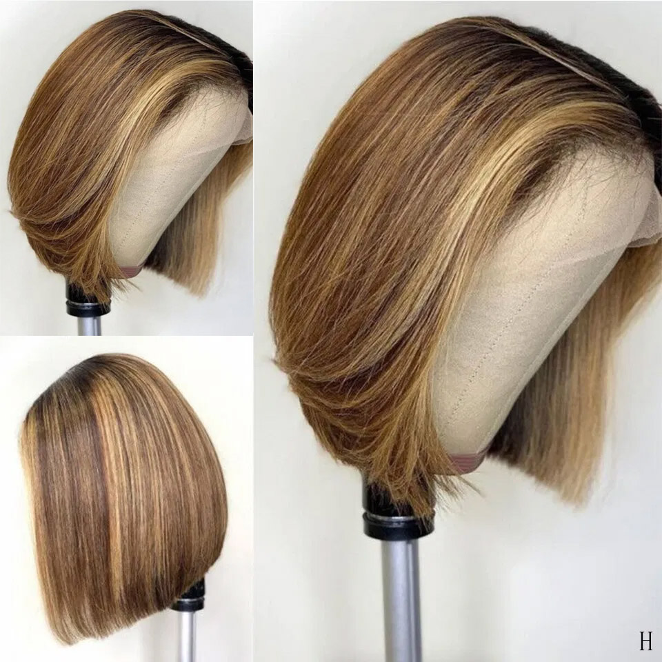 Highlights Color13x6 Lace Front Human Hair Wigs Deep Part Lace Front Wigs Straight HoneyBlonde 150% Brazilian Remy Short Bob Wig