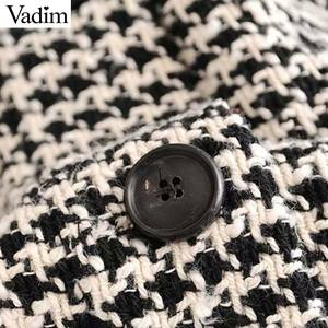 Image 3 - Vadim נשים גדול משובץ טוויד מעיל גדילים כיסי loose סגנון ארוך שרוול מעילי נקבה להאריך ימים יותר חם סיבתי חולצות CA607
