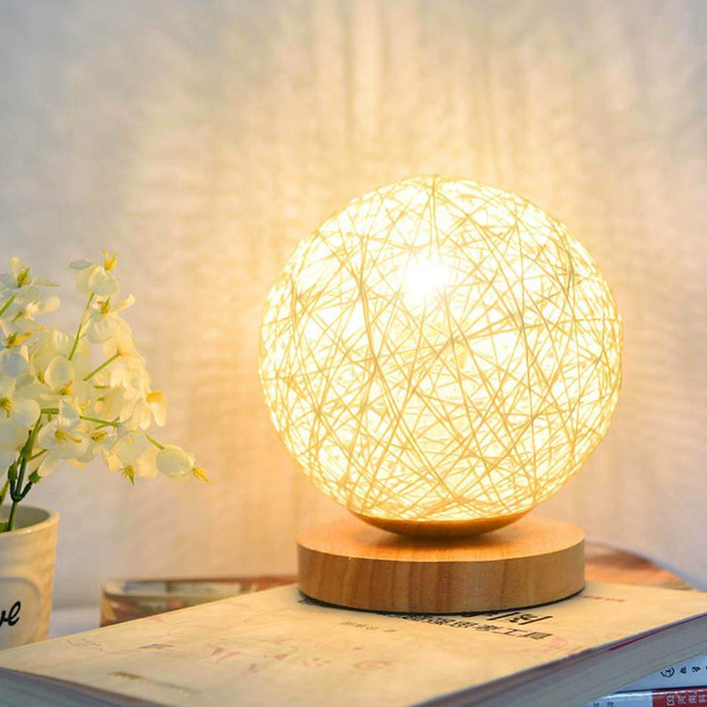 3W USB Moon Table Lamp Dimmable Hand-Knit Lampshade Wood Moon Lamp Bedroom Home Wedding Decoration Moonlight Beside Night Light
