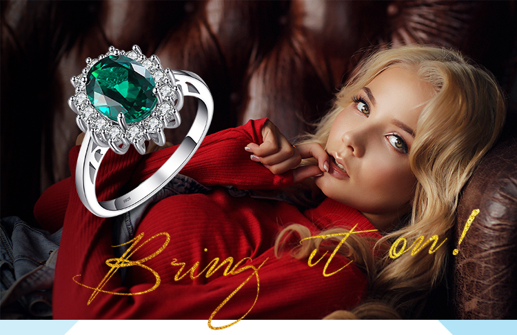 Hf8d77d8950864f0f969f8d6d27bf8d28i JewPalace Princess Diana Simulated Emerald Ring 925 Sterling Silver Rings for Women Engagement Ring Silver 925 Gemstones Jewelry