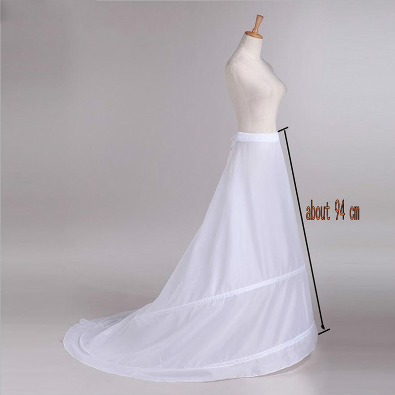 Wholesale Train Hoop Skirt New 2 Rings White Wedding Dress Underskirt Petticoat
