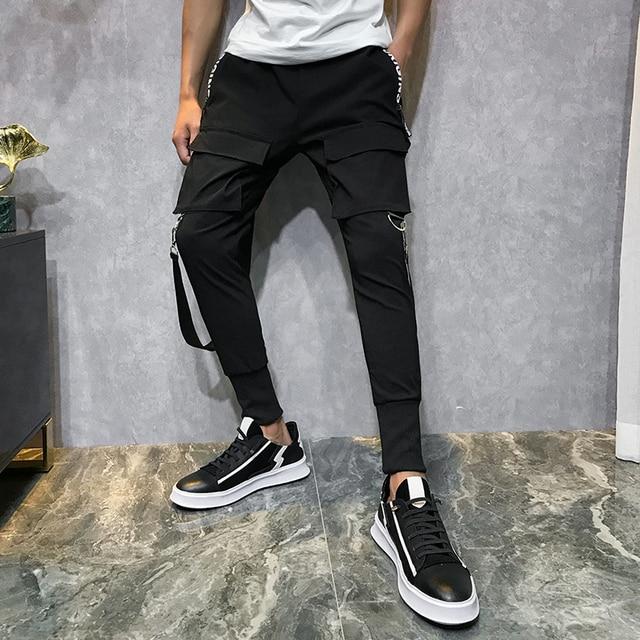 2019 Men Streetwear Pants Black Harem Pants Light Men Punk Pants Ribbons Casual Slim Jogger Pants Men Hip Hop Trousers LBZ138 30