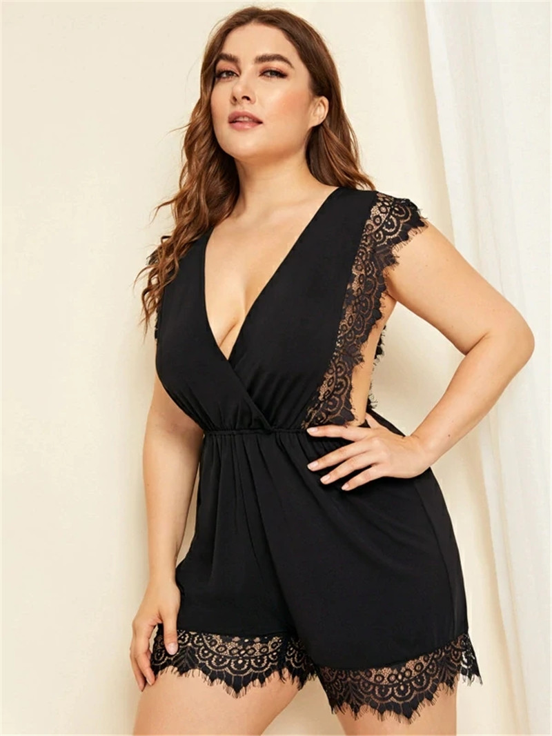 Plus Size Playsuit Women Summer V neck Lace Embroidery Bordered Elastic Waist Sleeveless 2020 Jumpsuit Rompers XL 4XL D03407Y