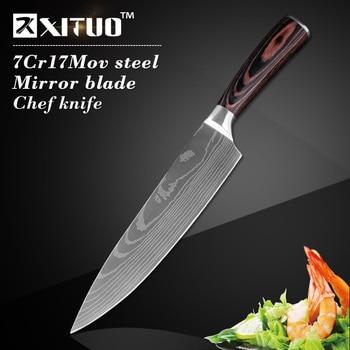 XITUO Kitchen Knife Set 7CR17 High Carbon Steel Chef Knife Japanese Knife Meat Cleaver Slicing Santoku Utility Cooking Knife Set 2