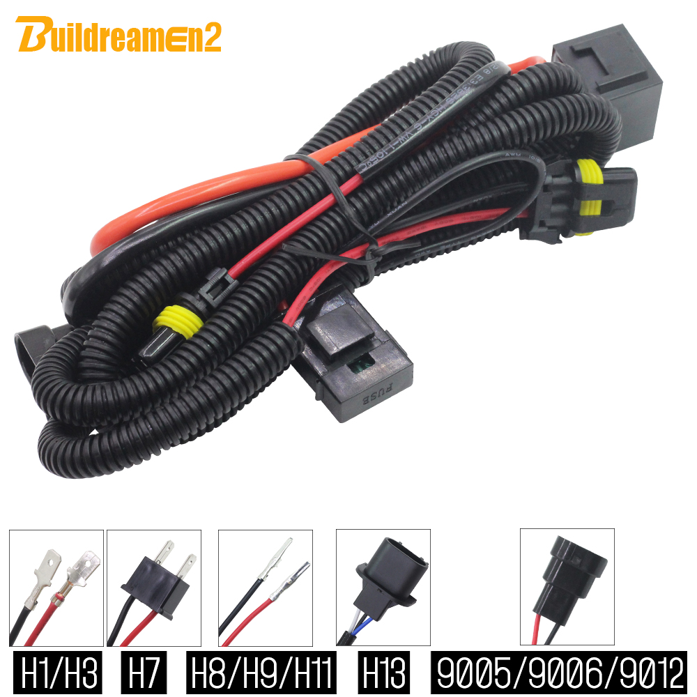 Buildreamen2 H1 H3 H7 H8 H9 H11 9005 9006 9012 HID Xenon Kit Wire Relay Harness Wiring For Car Headlight Fog Light 35W 55W 12V(China)
