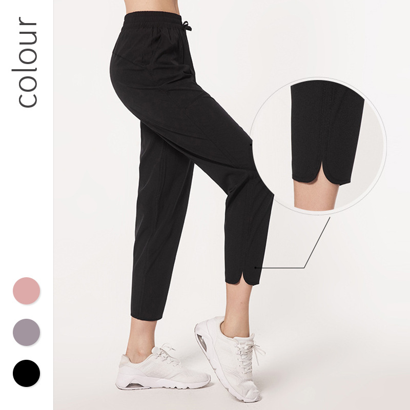 LULU Celebrity Style Athletic Pants Women's High-waisted Slimming Loose Casual Pants Quick-Dry Running Yoga Pants Capri Pants Fi