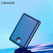 USAMS güç banka LED ekran Mini Powerbank harici pil Poverbank şarj Pover bankası için USB kablosu ile xiaomi mi iPhone