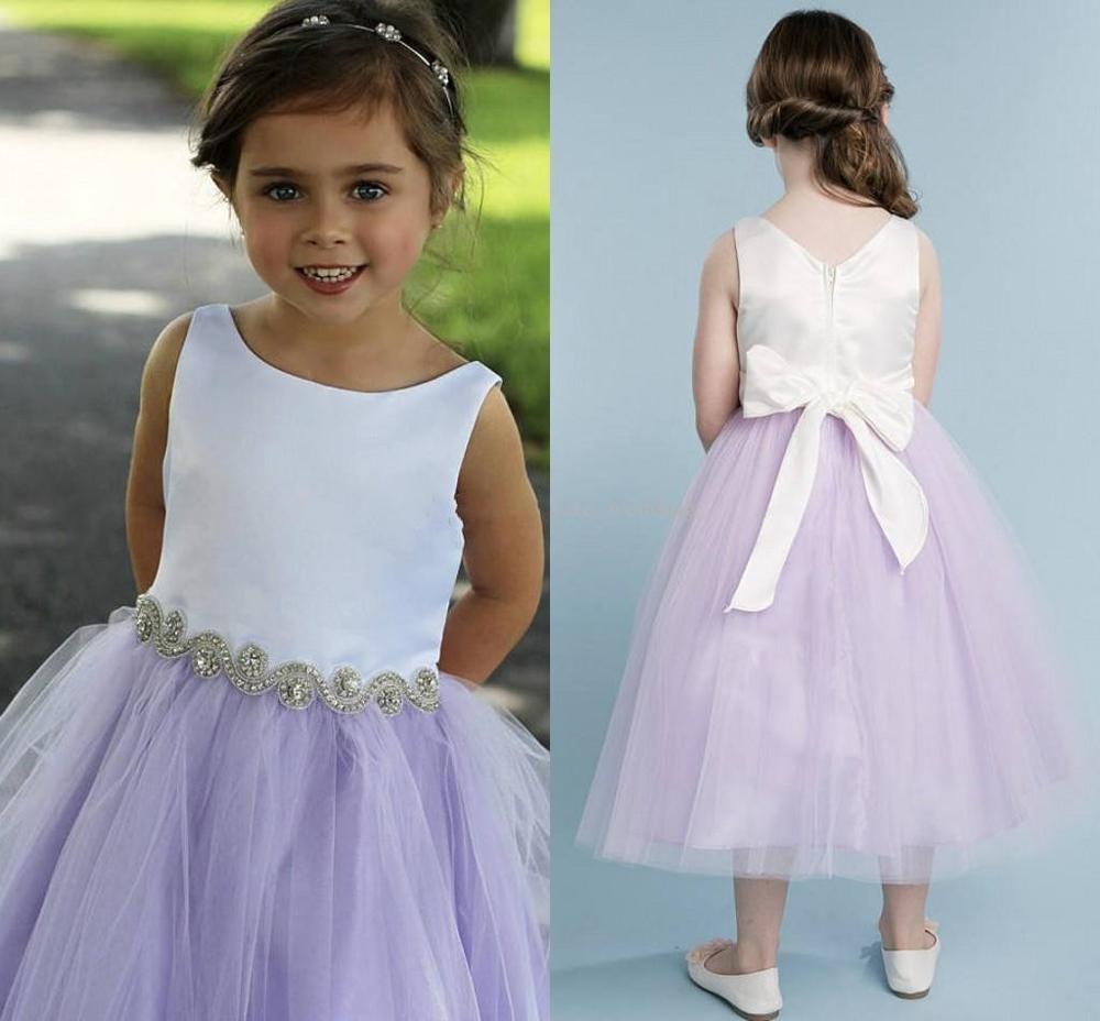 Lavender Tulle Flower Girls Dresses Scoop Neck Satin Tea Length Children Birthday Wedding Party Dresses With Crystal
