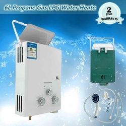 Tankless Gas Water Heater 6L LPG Liquid Petroleum Gas Portable W/ 1 Shower Head