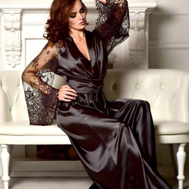Womens Nightdress Sexy Long LaceLingerie  Bath Robe Gown  Imitation Ice Silk Nightdress Solid Color Nightgown Nightwear 2
