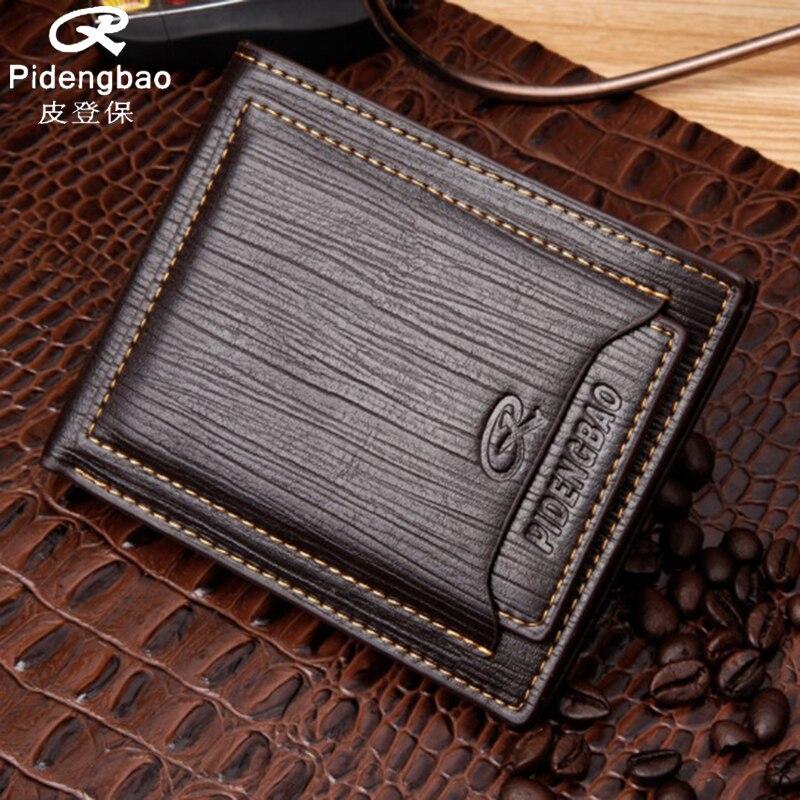 PIDENGBAO Brand New Men Wallets PU Leather Men's Short Purses Money Wallet Credit Cards Holder Pocket Luxury Designer Purse