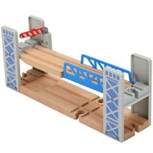Trilha de trem de madeira acessórios ferroviários de dupla camada pista ponte brinquedos educativos túnel cruz ponte trilha de madeira