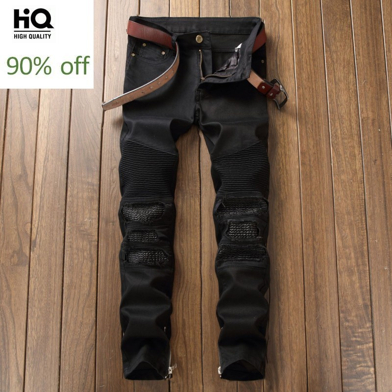 2020 Spring Fashion Brand Distressed Begger Men's Jeans Straight Full Length Black Red Cowboy Pants Man Casual Biker Jean Male