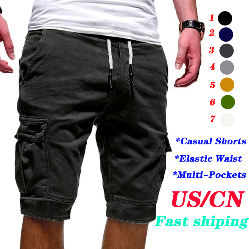 Shorts For Men Hot-Selling Summer Men Shorts Fitness Elastic Waist Casual Workout Pants Shorts Men's Multi-pocket Sports Shorts