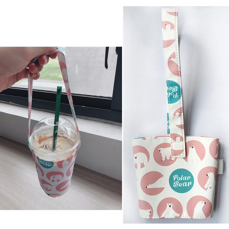 Portable Cup Bag Carrier Pure Cotton Cloth Cup Cover For Milk Tea Juice Lovely Odorless Gift Handbag   DFG