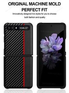 Image 2 - GRMAหรูหราของแท้หนังคาร์บอนไฟเบอร์สำหรับSamsung Galaxy Z FlipกรณีSM F7000 Galaxy Z Flip Aramidฝาครอบโทรศัพท์