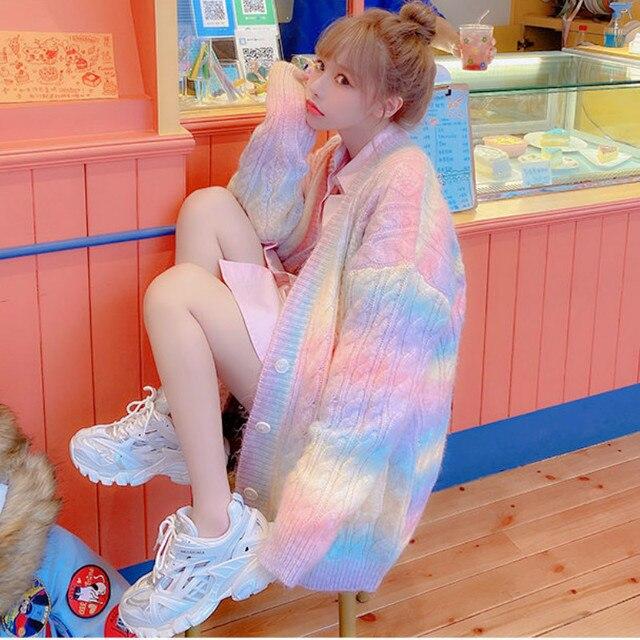 Rainbow Knitted Cardigan Women Autumn winter Sweet Kawaii Sweater Coat Female Long Korean Button Down Cardigan Fall 2020 Women 3