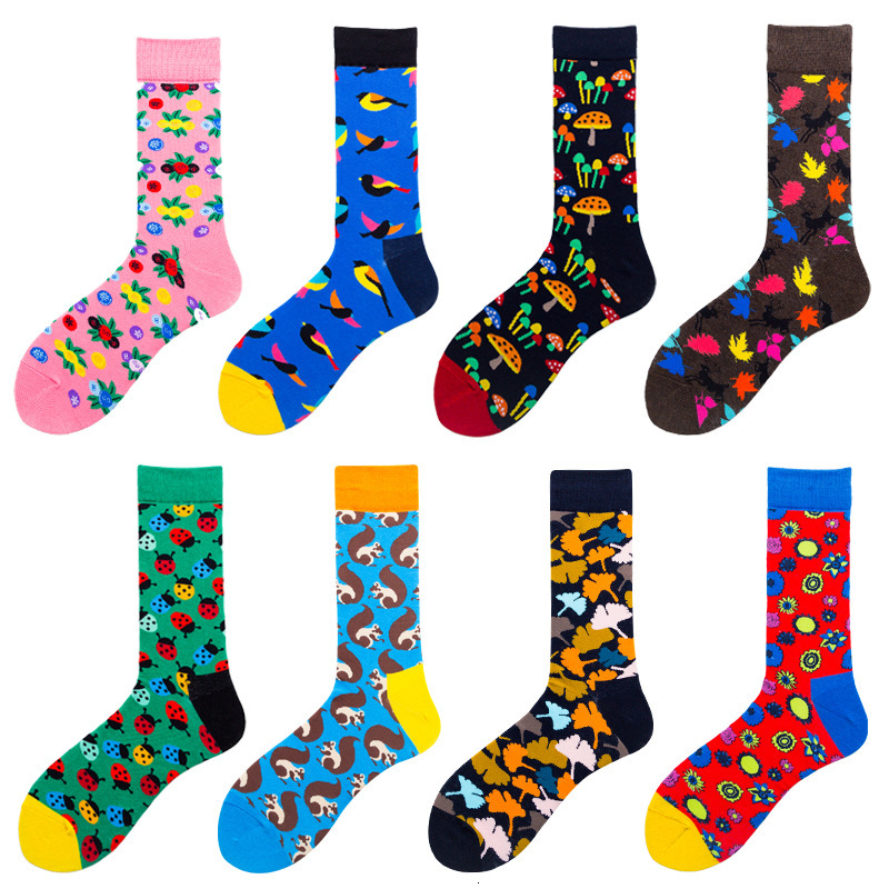 SP&CITY Personal Insect Forest Series Men's Happy Socks Colorful Combed Cotton Funny Socks Breathable Absorb Sweat Sox Original