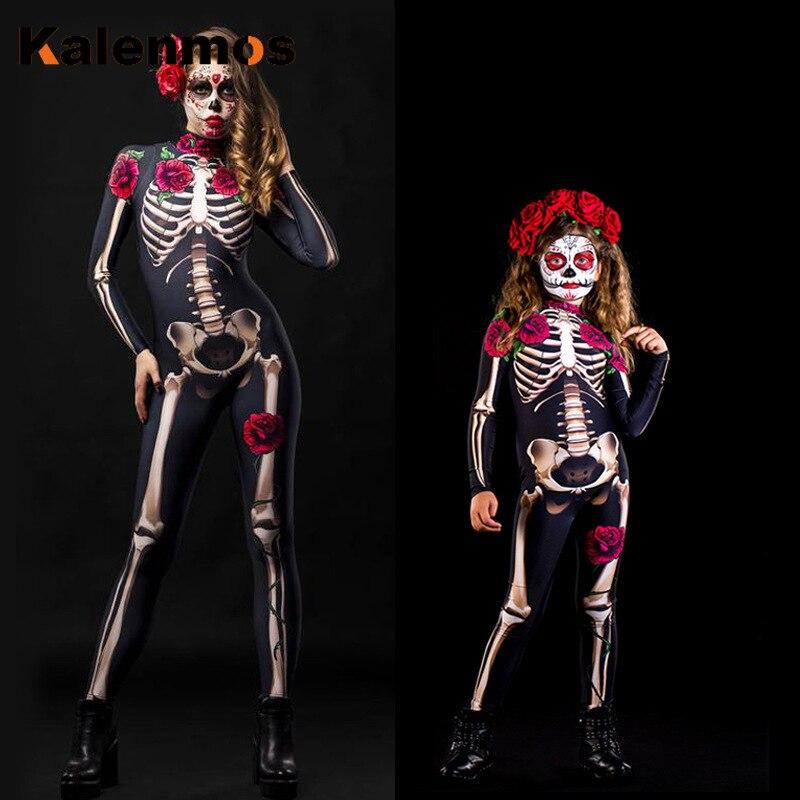 KALENMOS Halloween Costumes Sexy Jumpsuit Women Elastic Party Cosplay Masquerade Terror Long Sleeve Tracksuit Festival Bodysuit