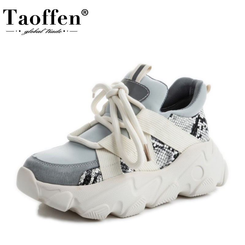Taoffen Real Leather Women Vulcanized Shoes Snakeskin Print Patchwork Sneakers For Women Cushion Casual Footwear Size 35-42