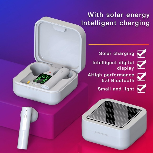 2020 Solar Charging TWS Bluetooth Earphone LED Display Mini Ear Buds Bluetooth 5.0 Headphone Cell Phones Whit Charging Case