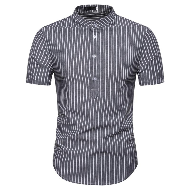 Summer Mens Stripe Pullover Shirt Men Fashion Stand Collar Short-sleeved Thin Shirt For Male New European Size Shirts