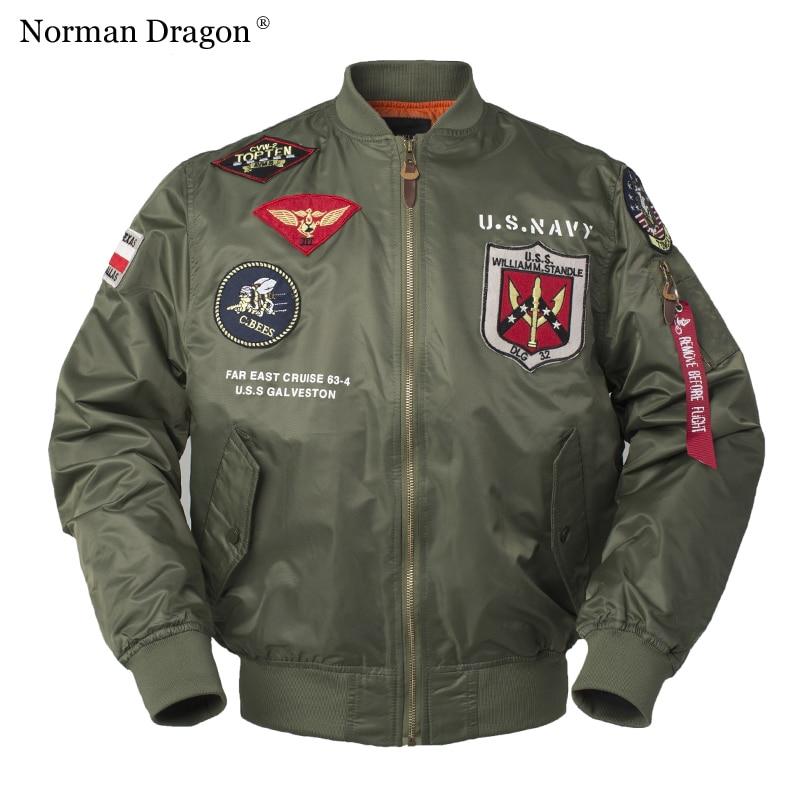 High quality lightweight US NAVY print military patch white green black nylon baseball bomber jacket men bomber coats