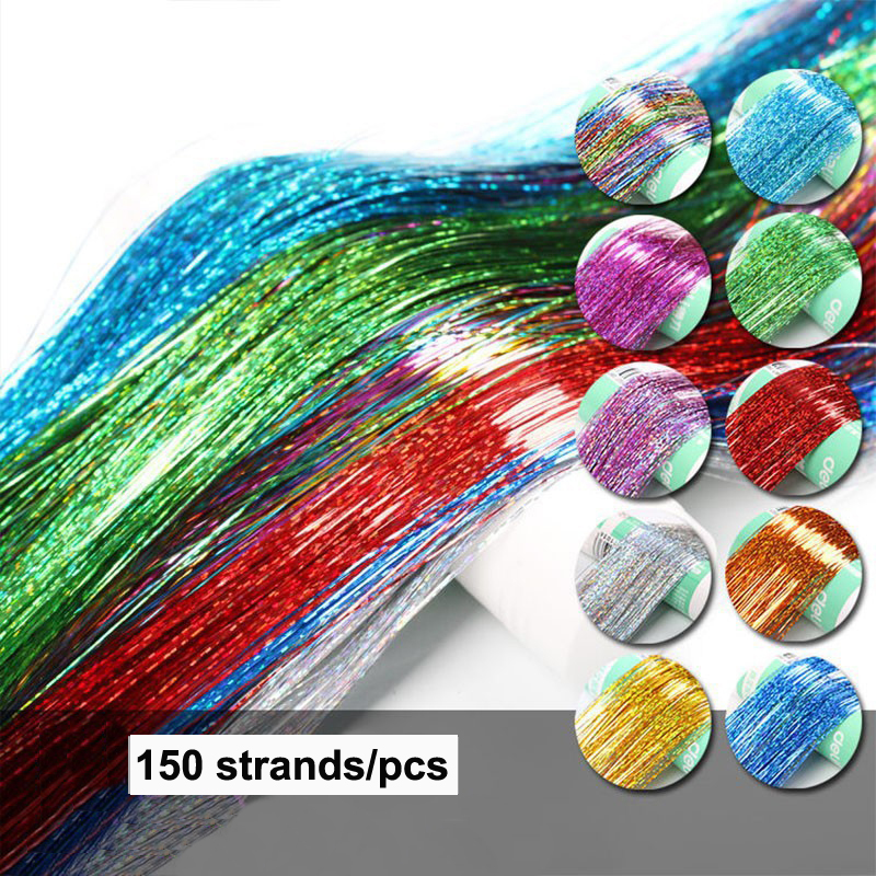 16 Colors 90cm Party Holographic hair accessories Glitter Hair Tinsel Sparkle Extensions 150Strands Bling twinkle hair extension 1