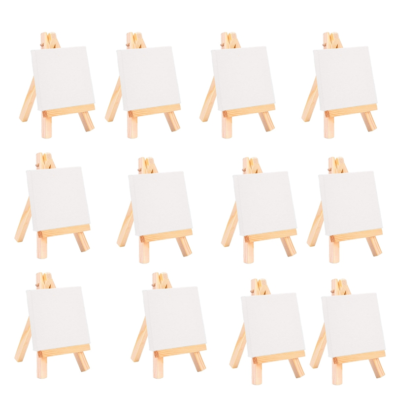 24Set Artists 5 Inch Mini Easel +3 Inch X3 Inch Mini Canvas Set Painting Craft DIY Drawing Small Table Easel Gift