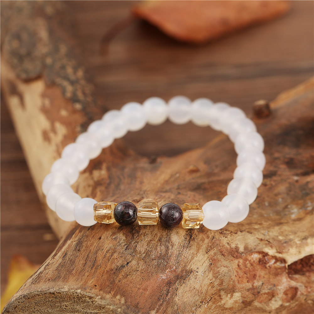 7mm Natural White Chalcedony Bracelets & Bangle For Women Jewelry Buddha Elastic Yoga Stone Bead Bracelet Drop Shipping 5