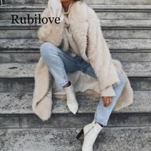Rubilove Winter coat womens plus long woolen casual expensive ladies banquet jacket female simple winter 2019