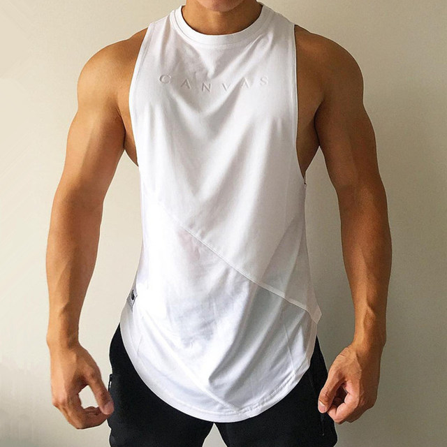 NEW Bodybuilding Sporty Tank Tops Men Gyms Fitness Workout Sleeveless Shirt Male Stringer Singlet Summer Casual Loose Undershirt 1