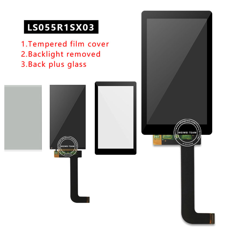 Wisecoco For Photon Wanhao D7 Light-Curing 3d Printer LCD Display + Protecive Film+Glass LS055R1SX03 KLD 1260 1268 LCDs Screen(China)