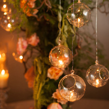New Transparent Candlestick Crystal Glass Hanging Candle Holder Home Wedding Party Dinner Decoration 1/5/10 pcs