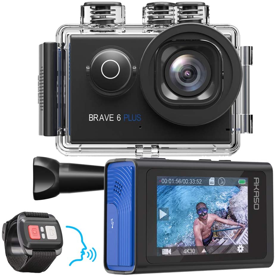 AKASO Brave 6 Plus WiFi Action Camera Native 4K30FPS 20MP Sport Camera Touch Screen EIS 8X Zoom 4k Action Cam Voice Control
