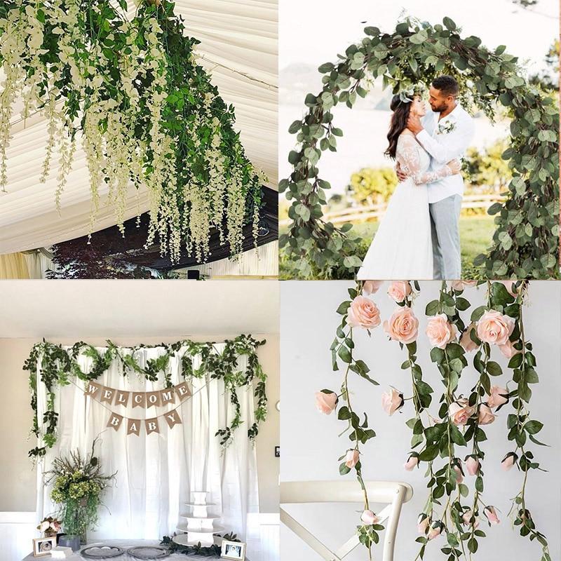 Glyzinien/Rose/Eukalyptus Künstliche Blumen Vine Garland Hochzeit Arch Dekoration Gefälschte Rosen Blumen Hänge Garland Wand Dekor