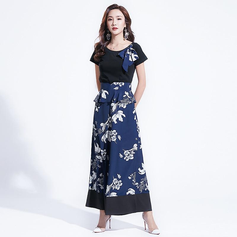 2019 Summer WOMEN'S Dress New Style Korean-style Sweet Elegant Printed Bandage Cloth Versatile Loose Pants Two-Piece Set