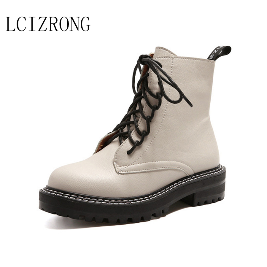 LCIZRONG 2019 New Simple Boots Big Size 32- 43 Vintage Winter Women Shoes Add Plush Classic British Style Female Ankle Boots
