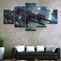 Современная живопись на холсте, модульная настенная художественная рамка, домашний декор, гостиная, 5 панелей, космический корабль, игра, зв...