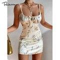 Tobinoone Цветочный принт, костюм с сексуальным вырезом и открытой спиной, сексуальное женское платье 2021 Лето Спагетти ремень Bodycon Короткие плат...
