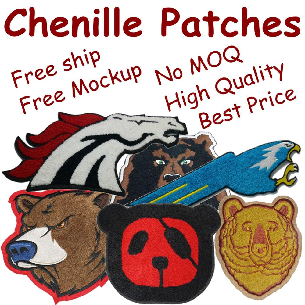 Custom Chenille Patches Letters Patches For Hoodie Stick-on Backing Name Chenille Patches Embroidery Patches